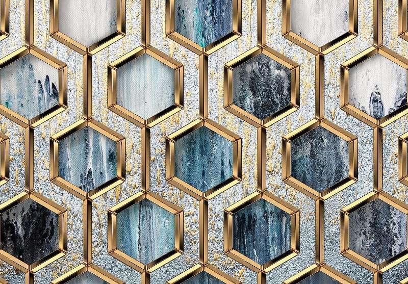 Фототапет с абстракни златни фигури
