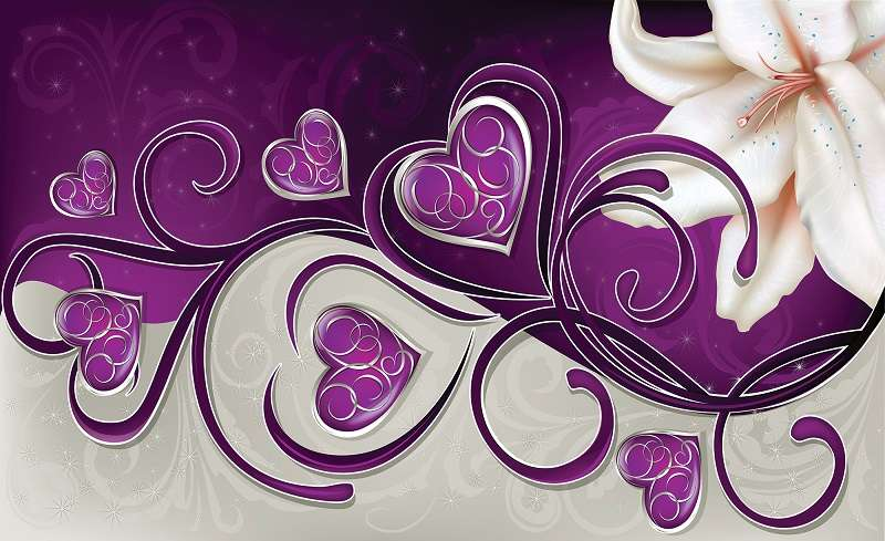Hearts with Lilies on Vioet - C02145
