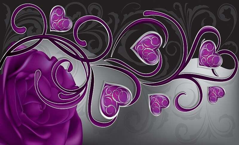 фототапет сърце от рози в лилаво