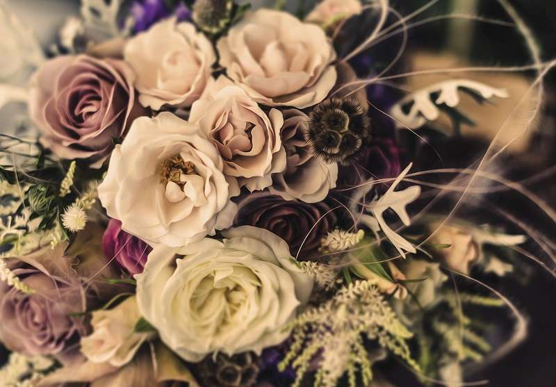 фототапет букет с рози винтидж