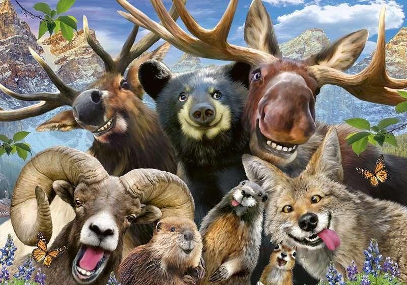 Фототапет забавно горско селфи с животни