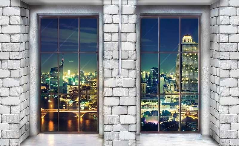 Фототапет с прозорец в нощен Ню Йорк