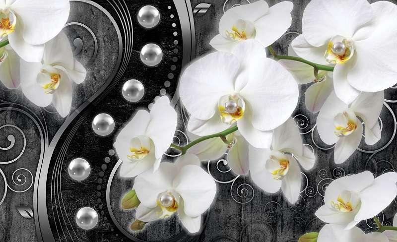 абстрактен фототапет бяла орхидея на черен фон и перли