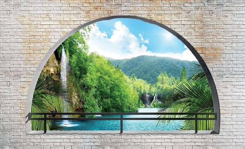 3D Фототапет прозорец с каменни мотиви и слънчеви водопади