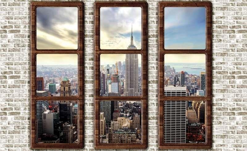 Фототапет с прозорец и камък Ню Йорк