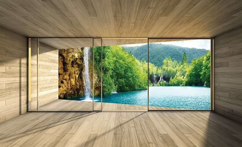 3D Фототапет прозорец с изглед към вълшебния горски водопад