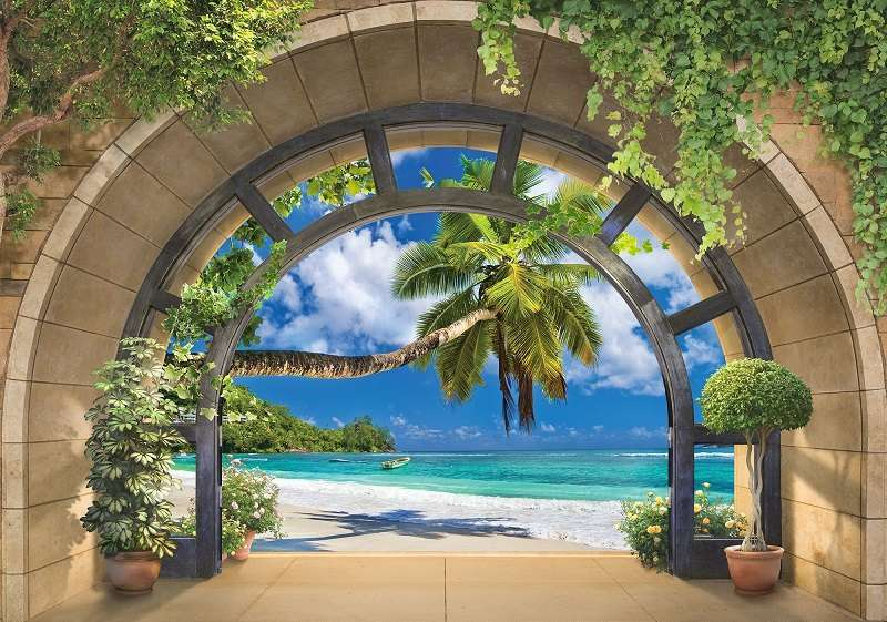 Фототапет с морска палма с изглед от прозорец