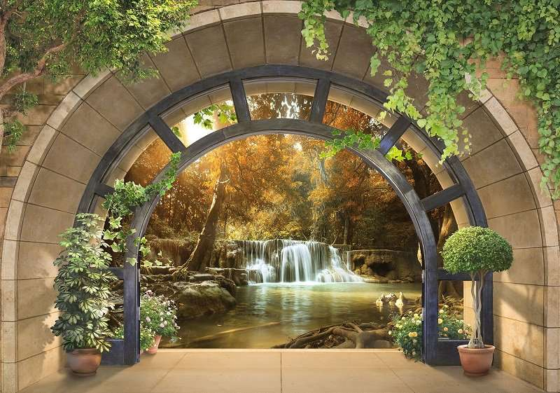 3D Фототапет с горски водопад