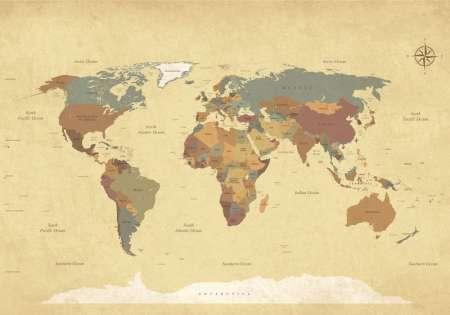 Карта на света винтидж стил - 10973