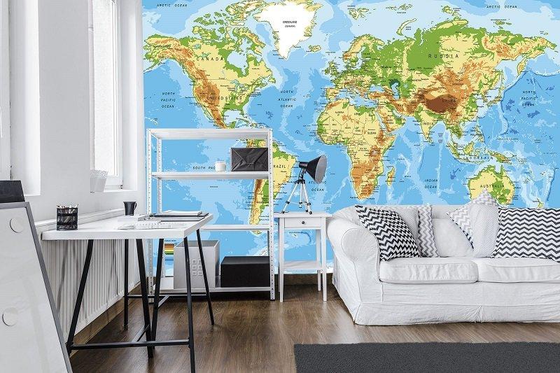 фототапет карта на света - географска и политическа
