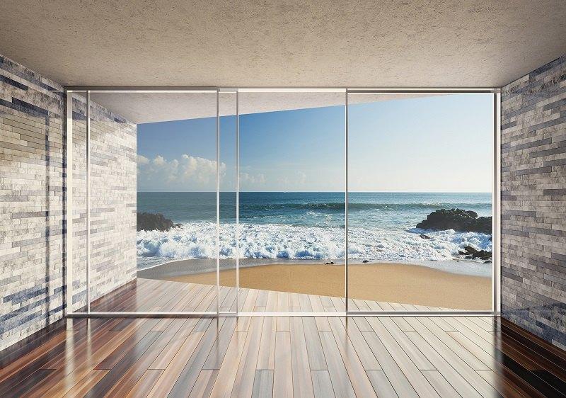 3d fototapet terasă la mare