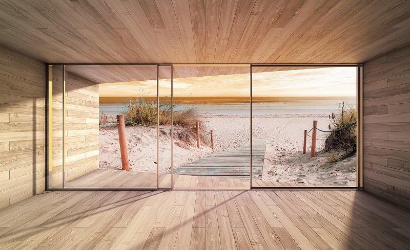 3d fototapet terasă la plajă