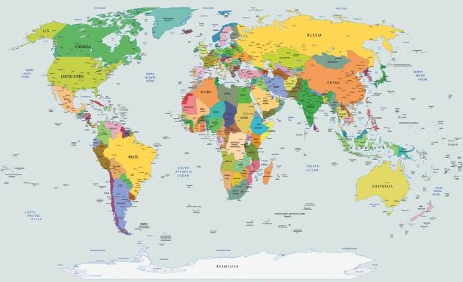 fototapet o hartă polițistă a lumii