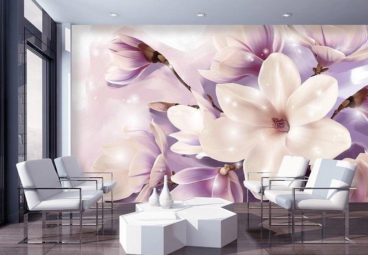 фототапет с цвете - лилава магнолия