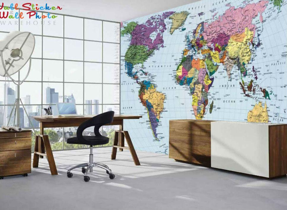 фототапет релефна карта на света