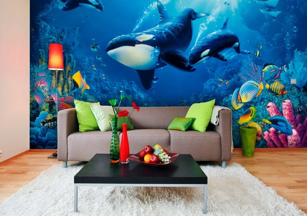 фототапет морско дъно с делфини и косатки