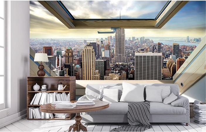 Tapet pentru camera de zi cu vedere de la fereastră spre New York