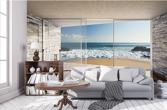 fototapet 3d terasă plajă și mare