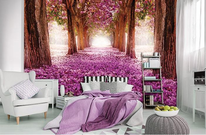 Fototapetul pentru dormitor pădure roz