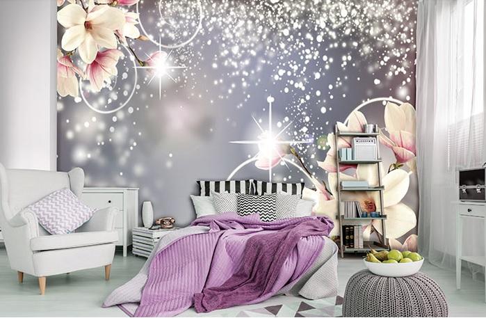 Fototapetul pentru dormitor flori