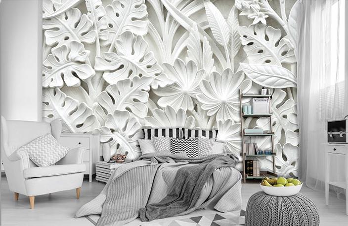 Fototapetul pentru dormitor  flori albe din piatră